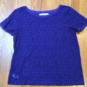 Royal Blue LOFT lace top — XS